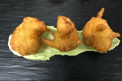Buñuelos de Bacalao con emulsión de albahaca - Jornadas de Bacalao