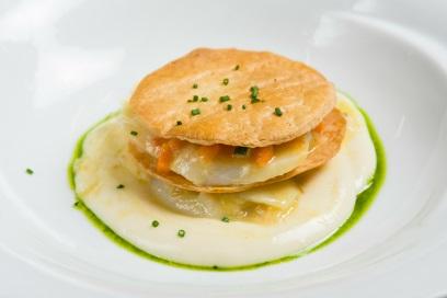 Milhoja de Bacalao con Verduritas y Puré de Patata - Jornadas de Bacalao