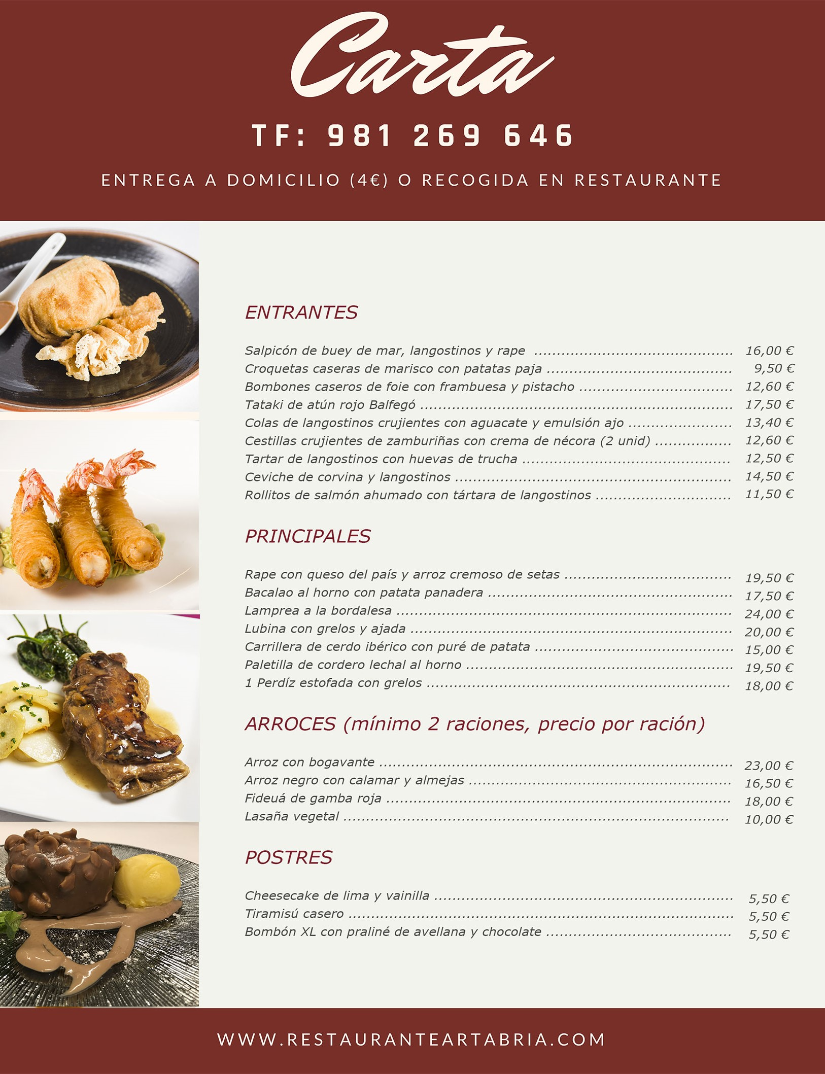 comida para llevar - carta restaurante Artabria